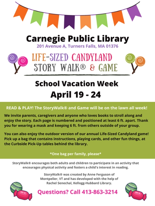 Carnegie Library Story Walk and Life-Sized Candyland Game During School Vacation